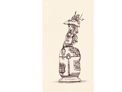 Lady Robot with the bag 2021 retro traditional art steampunk ink illustration robot woman