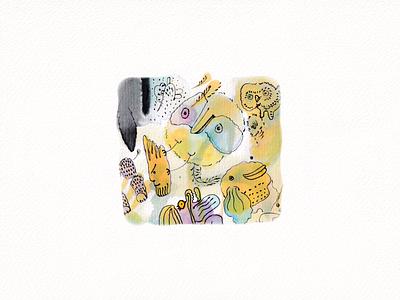 Kaki-Maliaki 01 / Ink Doodle abstract creature 2021 sketch ink bird doodle