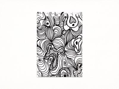Black & White Pattern doodle 2021 sketch traditinalart drawing ink abstractart pattern illustration