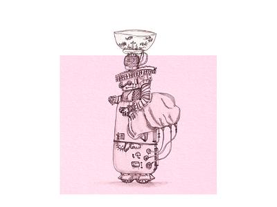 Lady Robot with Aquarium Head inspiration sketch steampunk drawing traditionalart aquarium ink robot woman illustration