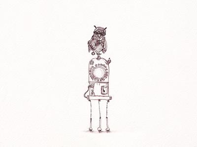 Robot-Owl traditionalart ink sketch drawing steampunk owl robot blackandwhite illustration