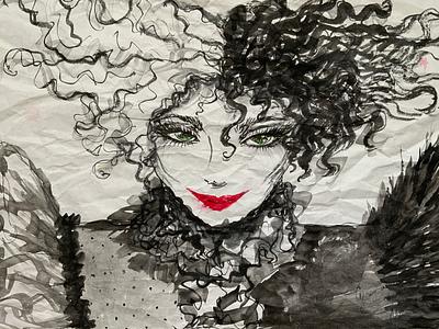 Cruella portrait face white black ink 2021 woman redlips drawing traditionalart inkillustration cruella