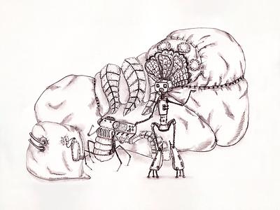 Robot-Singer traditionalart white black art 2021 drawing woman singer ink illustration robot