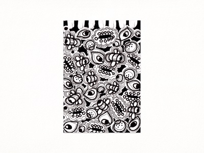 Pattern with Bees fineliner traditional art sketch dodle white black 2021 illustration pattern bee