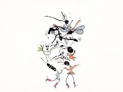 Dansing creatures 2021 fun traditionalart art drawing sketch dancing drop illustration ink