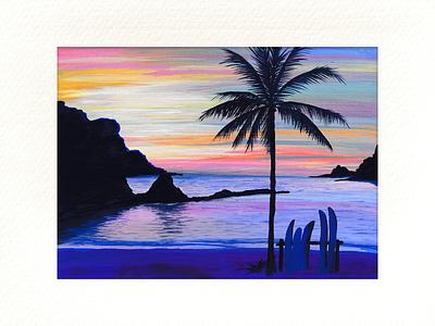 Sunset dream creativity inspiration 2021 painting art acrylic sea sunset drawing illustration