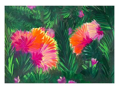 Jungle art flowers fun color vibrant 2021 illustration inspiratiion drawing jungle