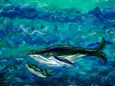 Safety 2021 illustration cute ocean safety care art painting drawing acrylic cub bluewhale