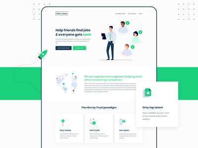 Hire by Trust ui landing page web design