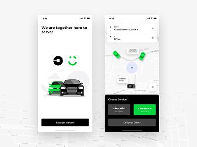 Uber & Careem app concept illustration design
