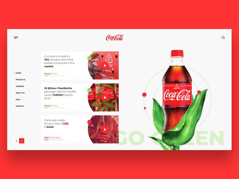 Coca Cola Concept landing page web concept illustration design