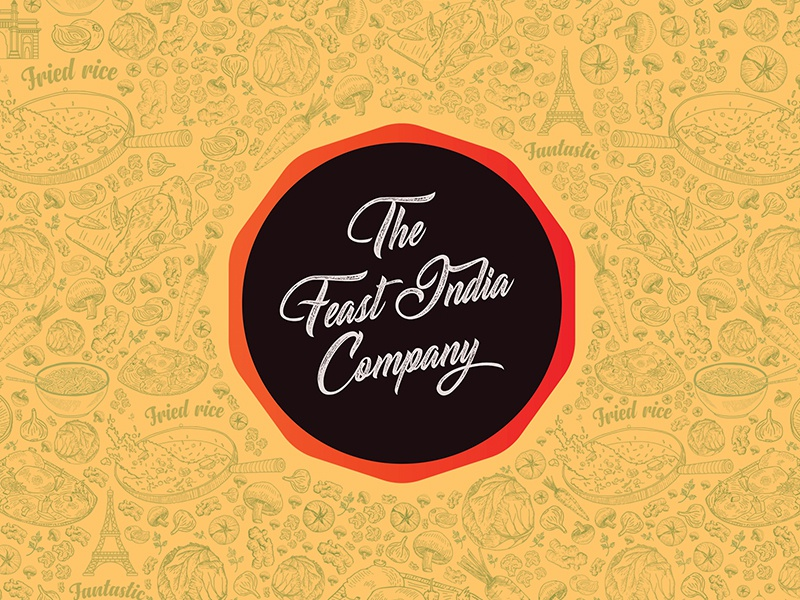 The Feast India Company Branding pandbstudio communication visual strategy food indian authentic indochinese pandb typography vector illustration logo fastfood branding