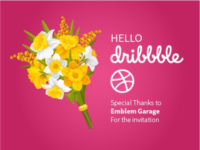 Hello Dribbble vector art vector hellodribbble bouquet mimosa daffodils flowers hello dribbble