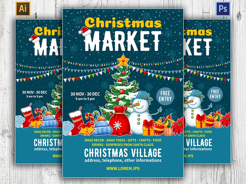 Christmas Market Flyer Template By Pazhyna Dribbble Dribbble