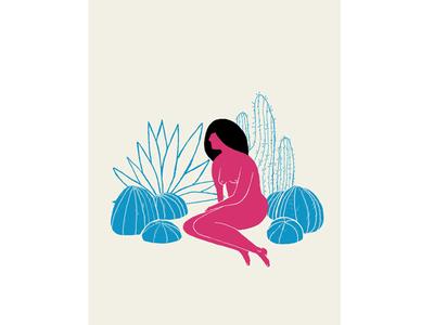 Lady with plants 2 illustration print screenprint palm tree succulents plant lady women female plants