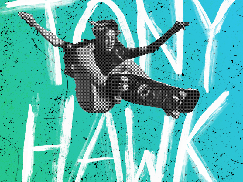 Tony Hawk Coffee Hour skateboard tony hawk silkscreen poster halftone design