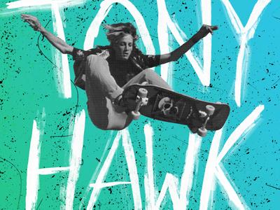 Tony Hawk Coffee Hour skateboard tony hawk silkscreen poster halftone design