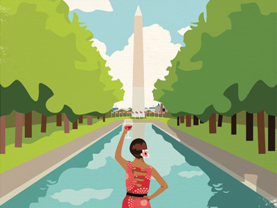 Cheers Washington DC vector illustration cityscape vintage washington dc