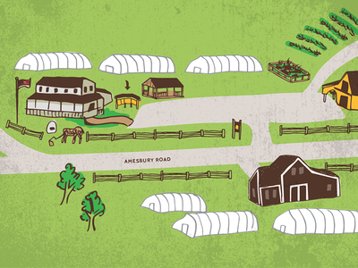 Farm map illustration hand drawn illustration map