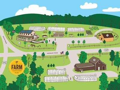 Eastman's Farm Map Illustration map illustration hand drawn
