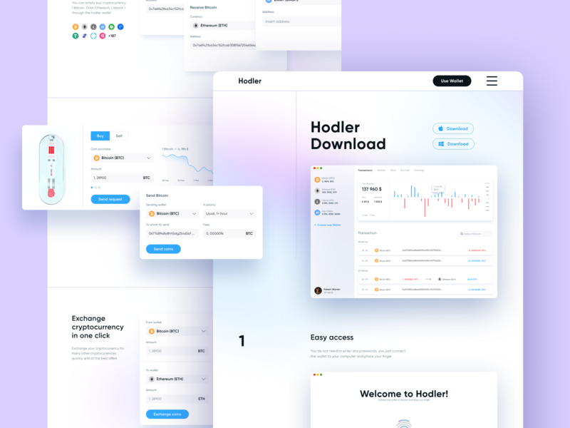 Hodler | Wallet app download page gradient app application crypto wallet site ui ux website web design