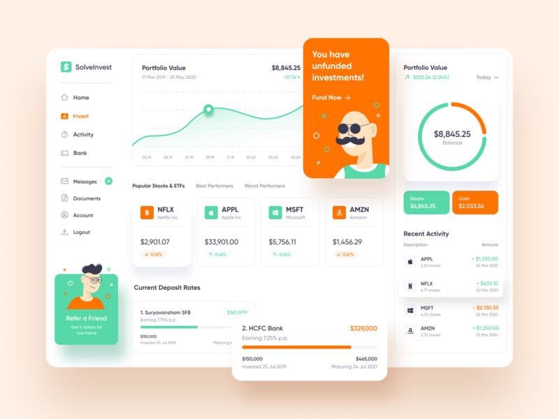 SolveInvest | Dashboard color dashboard fintech illustration application app web ux ui design