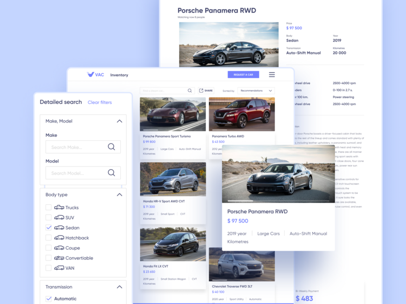 VAC | Inventory page site color ecommerce catalog car website branding web ux ui design