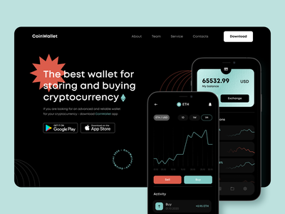 CoinWallet | Crypto Wallet site website web cryptocurrency crypto fintech app application ux design ui