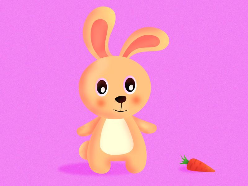 Rabbit carrot lovely cartooning cartoon adorable cute minimalist minimalism character vector illustration design