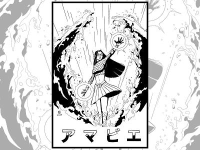 アマビエ(アメコミver) japanese culture 2d superhero cartoon illustration character design black and white comic art drawing