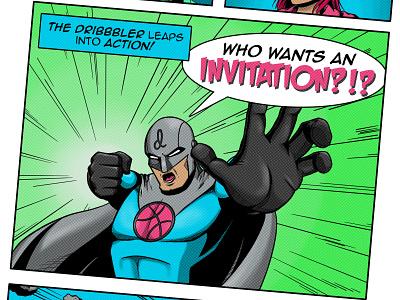 One Dribbble invite comic book illustration dribbble invite comic art invite invite giveaway