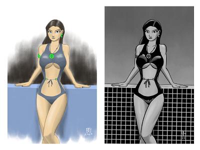 Monokini Girl(s) charcoal inking woman color monochrome girl sexy bikini illustration 2d comic art