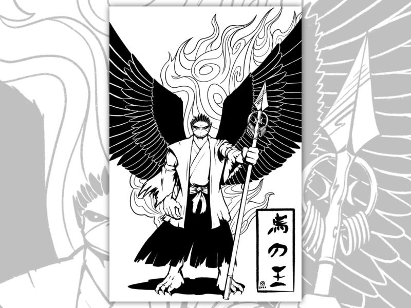 烏の王 character design cartoon illustration illustration black and white 2d drawing comic art