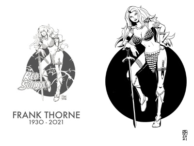 Red Sonja (RIP Frank Thorne) pinup girl black and white illustration drawing 2d comic art