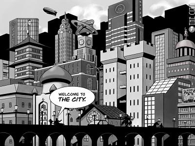 The City 2d drawing cityscape procreate art ink artwork art comic art illustration