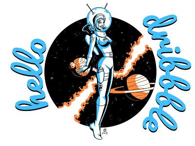Hello Dribbble drawing pinup girl retrofuturism comic art 2d illustration