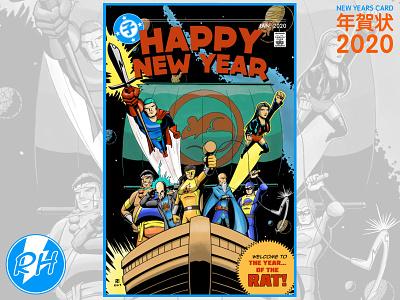 年賀状2020 superhero new year japan illustration drawing comic art 2d