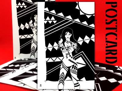 Postcard black and white pinup girl postcard design sexy illustration drawing comic art 2d