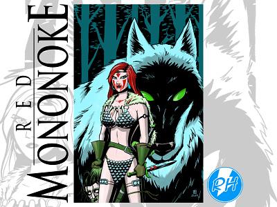 Red Mononoke (AKA Princess Sonja) mashup character design digital illustration drawing 2d cartoon illustration comic art