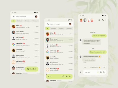 Messaging App google material material you material u message messengers messeging app ui app design pastel color daily ui sketch video chat minimal green call chatting chat clean modern