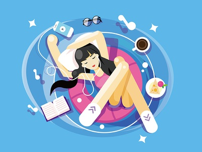 Self Portrait - Just Exercise dribbble dream summer illustration flat selfportrait character