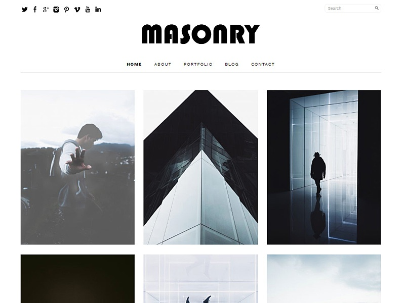 the theme of masonry in a Masonry layout, clean style, focus on typography - this is how today's freebie is going to charm and inspire you to redesign your design studio site there it is - the theme that's the point of our interest today - free html5 theme for design studio, and you're welcome to try it for your designs.