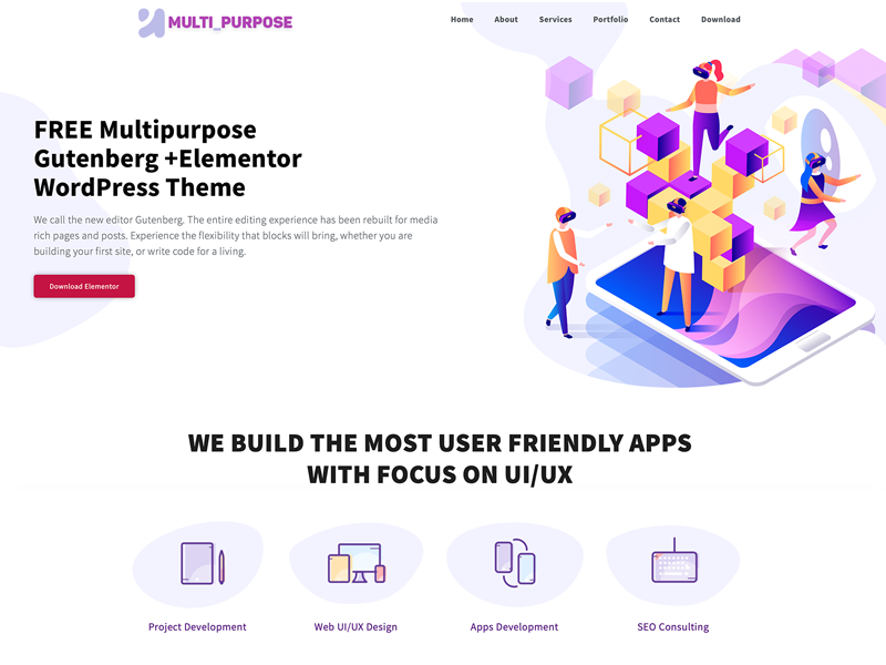 Free Multipurpose WordPress Theme by Dessign on Dribbble