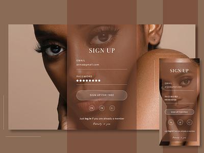 Sign Up Page flat minimal ux ui website web design