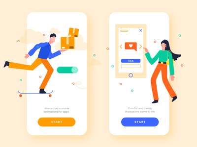 Animated Illustrations for Mobile App app illustration interaction interface motiongraphics mobile design ui swipe delivery vector svg motion-design motion figma sketch iphone after-effects