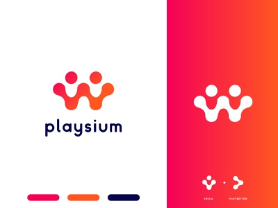 Gaming App Icon and Logo Design - Playsium typography design game design web type minimalistic minimal app icon icon flat flat design brandidentity brand design branding logodesign logo modern app