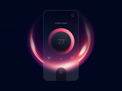 Glass Effect Smart Home App UI Concept mobile switch temperature smarthome uiux app minimal ui ux figma sketch glass effect glass 3d transparency blur blurred background trendy trend uidesign