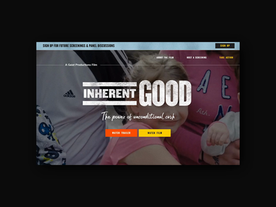 Website Design for Inherent Good Documentary interaction animation video header movie landing page design non profit negativespace bold website design landing page docmentary film landing website typography vector ux figma ui