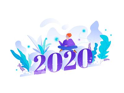 Happy 2020 minimal design vector vector illustration animation after effects animation 2d holidays card design typogaphy ui gradient graphic design interaction animation illustration