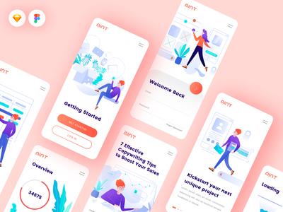 Mobile App using Mint Illustration Kit